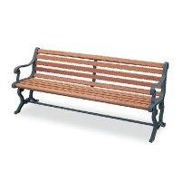山崎産業 ベンチYB-77L-WN(背付肘付) - 屋外にも設置できる天然木仕様のベンチ【代引不可】