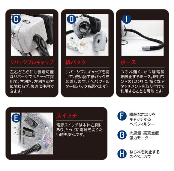 ■大風量・高真空度 強力モーター搭載■ヒップスター - ヘパフィルター標準装備・腰巻式バキュームクリーナー[紙パック] 03