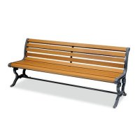 ■受注生産品■山崎産業 ベンチYB-73L-WN 背付肘なしECO - 耐久性に優れたリサイクルウッドのベンチ【代引不可】