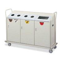 山崎産業 リサイクルボックス RBK-500TRP 1段キャリー - ビン、カン、一般ゴミをシンプルに組み合わせたキャリー【代引不可】
