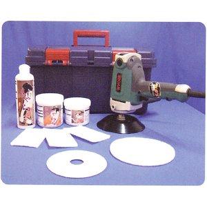 画像1: ミヤキ 浴室洗浄セット(電動ポリッシャー・パット・微粒子研磨剤他)