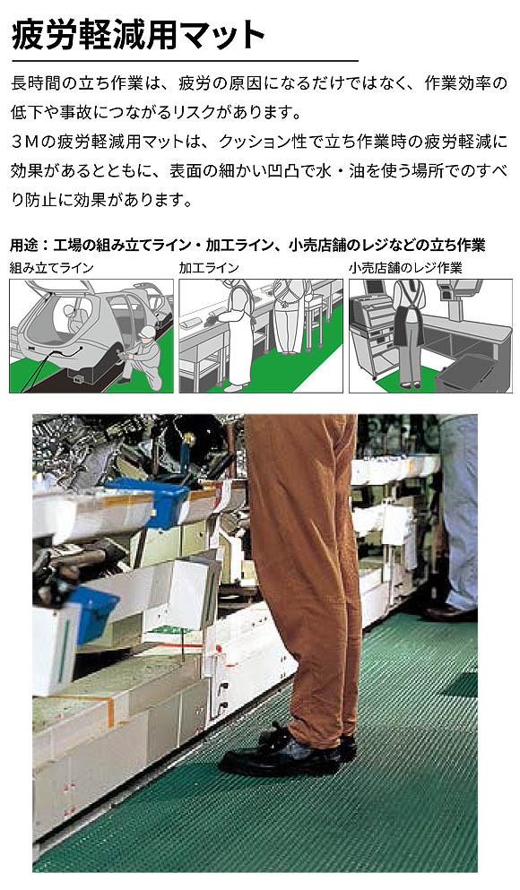 スリーエム ジャパン セーフ・ティーグ マットII (緑) - 〈屋内用〉疲労軽減用マット 効果と価格のバランスが良いレギュラータイプ 01