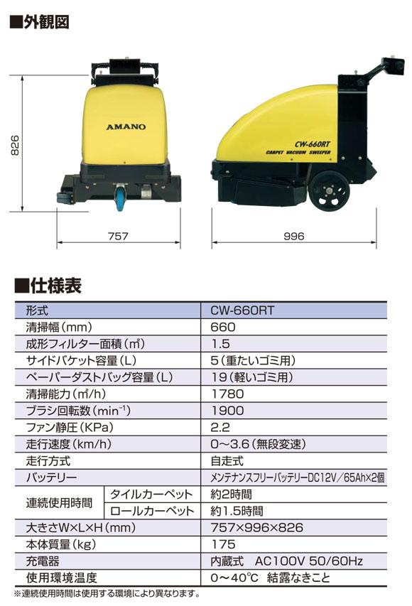 【リース契約可能】アマノ CW-660RT - 自走式カーペットバキュームスイーパー【代引不可】05
