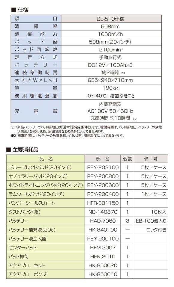 【リース契約可能】アマノ クリーンスター DE-510 - 電子高速バフィングマシン[20インチパッド]【代引不可】_07