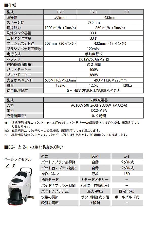 【リース契約可能】アマノ EGシリーズ  EG-1 - 小型自動床面洗浄機【代引不可】 06