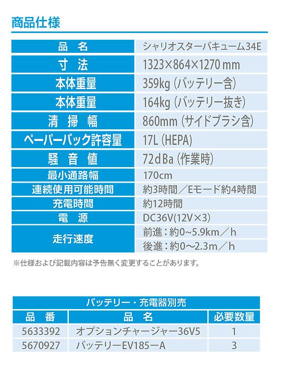 シーバイエス シャリオスターバキューム34E - 圧倒的生産性ステップオン掃除機【代引不可】 04