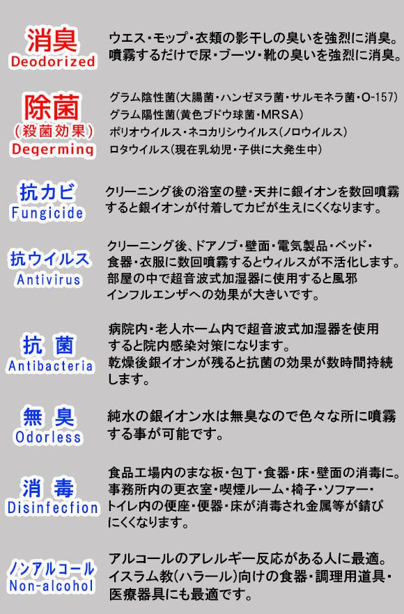 オーブ・テック 銀イオン Ag 10冠王 [500cc/4L] - あらゆる場所に使用できる消臭・除菌剤商品詳細02