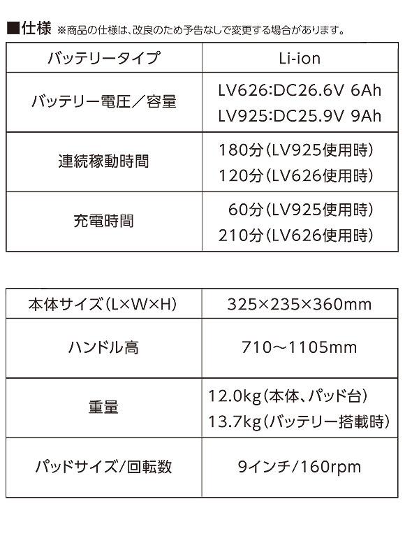 ペンギン BP-90Li【充電器・バッテリー別売】 - 9インチLi-ionコードレスポリッシャー (階段・小スペース用)【代引不可】04