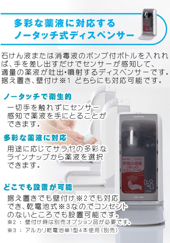サラヤ GUD-1000-PHJ 本体 - ノータッチ式ディスペンサー02