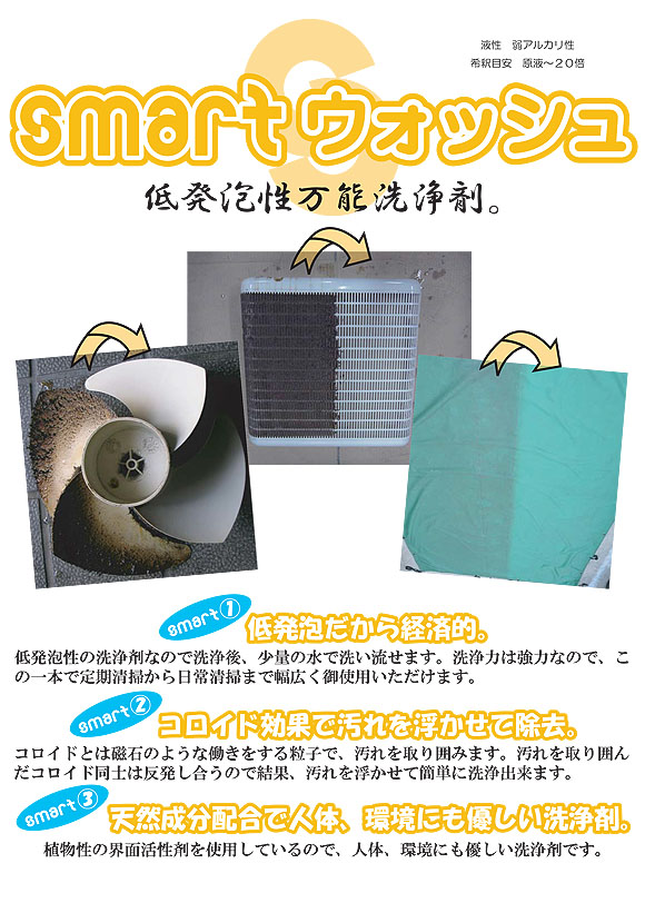 スマート ウォッシュ - 定期清掃から日常清掃までこの一本で!低発泡性万能洗浄剤 01