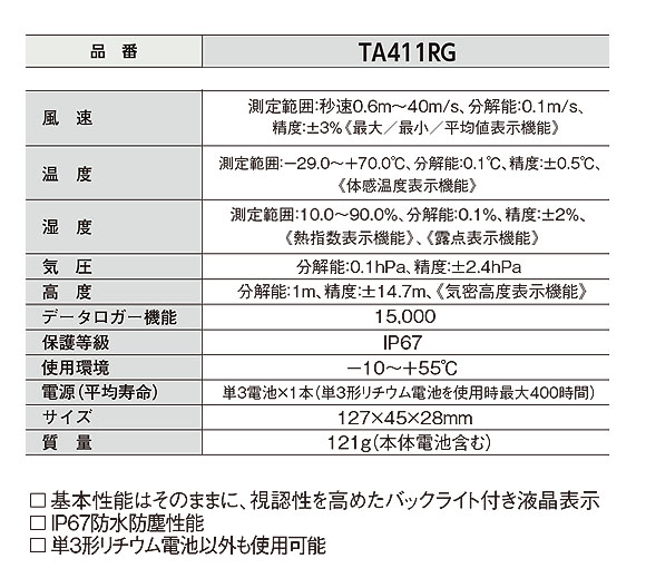 TASCO 気象計(ポケットサイズ風速計シリーズ) - 気圧と高度測定機能を備えた万能モデル【代引不可】 02