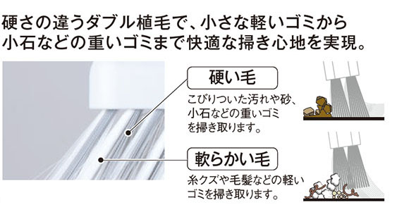 EFミックスブルーム - 硬さの違うダブル植毛自由箒 30cm 02