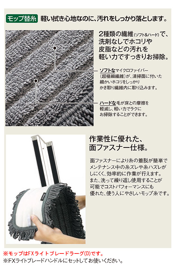 テラモト FXライトブレードラーグ (W) - 水拭き用モップ替糸 03