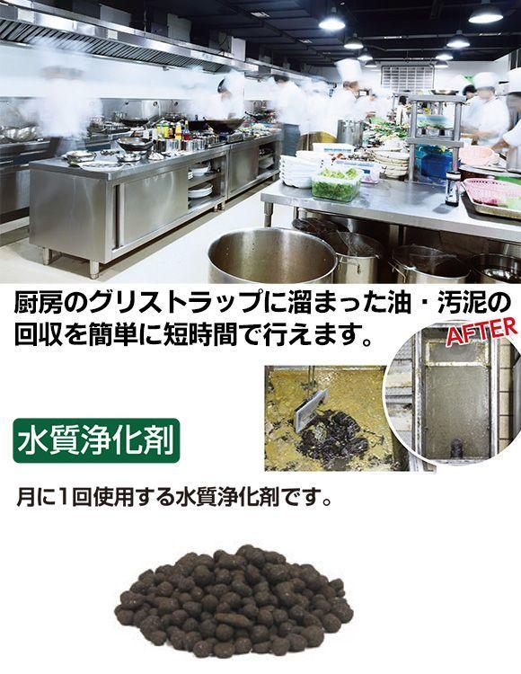 厨房のグリストラップ用水質浄化剤 グリスクライム 01