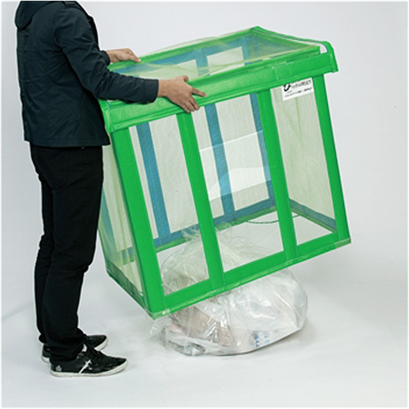 テラモト 自立ゴミ枠 折りたたみ式 緑 - ゴミの一時保管時のカラス対策などに効果的な折りたためるゴミ枠