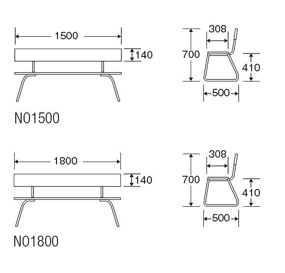 山崎産業 樹脂ベンチ背付ECO - 再生樹脂を利用したリサイクル仕様のベンチ 02