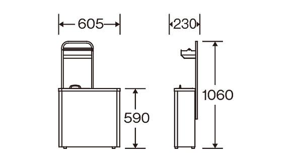 山崎産業 紙オムツ用 ダストボックスJ-600 - スリムな省スペース型の紙おむつ用ダストボックス【代引不可】 03