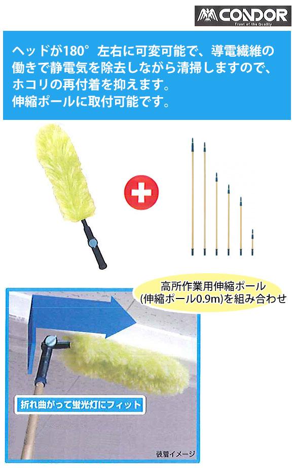 山崎産業 プロテック 高所用除電払い首振り 01