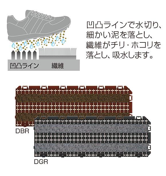 山崎産業 樹脂システムマット テキスタイルライン - ジョイントタイプの風除室マット 03