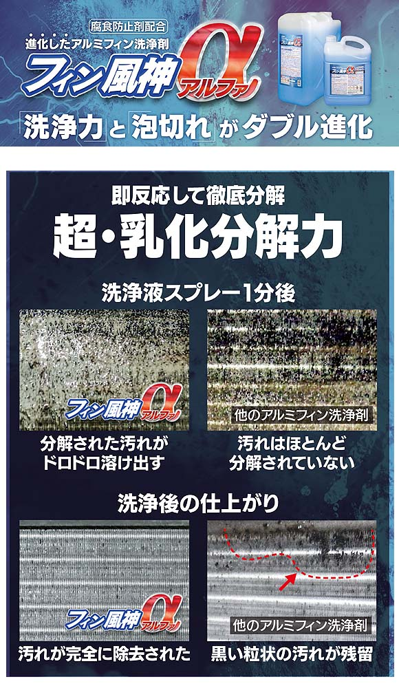 ユーホーニイタカ フィン風神α(アルファ) - 進化したアルミフィン専用洗浄剤 詳細05