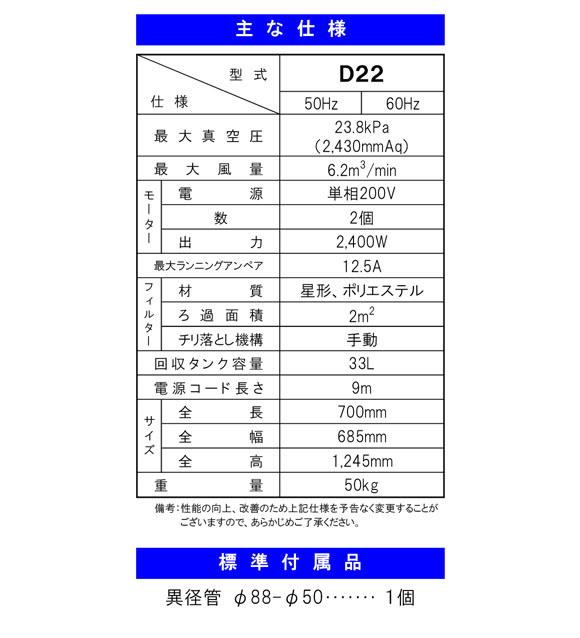 【リース契約可能】蔵王産業 バックマンデルフィンD22 - 産業用真空掃除機【代引不可】商品詳細02
