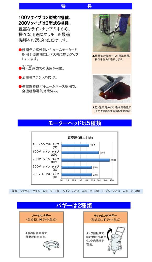 蔵王産業 バックマンS22T【代引不可】 - 乾湿両用バキュームクリーナー商品詳細02