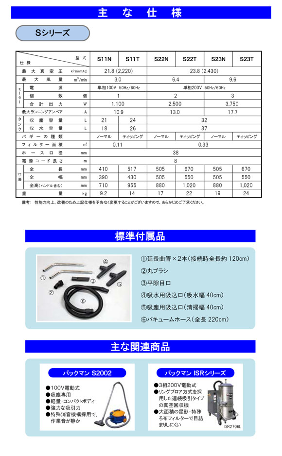 蔵王産業 バックマンS22T【代引不可】 - 乾湿両用バキュームクリーナー商品詳細03