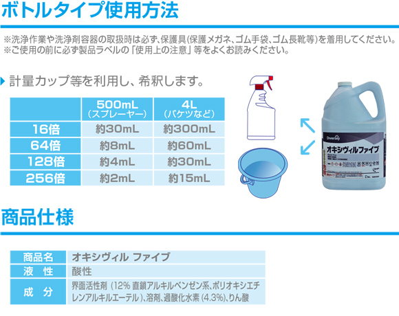 ディバーシー オキシヴィルファイブ[3.78LX2本] - 施設・備品の二次汚染対策用・業務用除菌剤商品詳細05