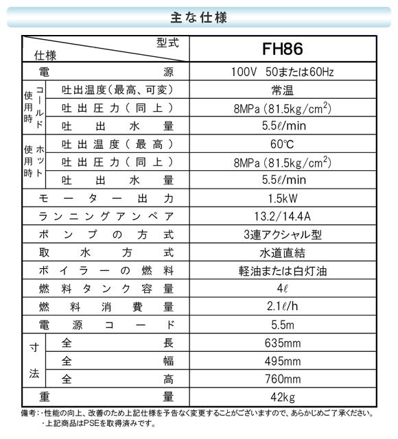 【リース契約可能】超軽量小型タイプ温水高圧洗浄機 ジェットマンFH86【代引不可】商品詳細04