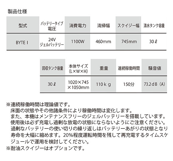 【リース契約可能】日本クランツレ BYTE I(バイトワン) - 業務用 バッテリータイプ 手押し式自動床洗浄機【代引不可】05
