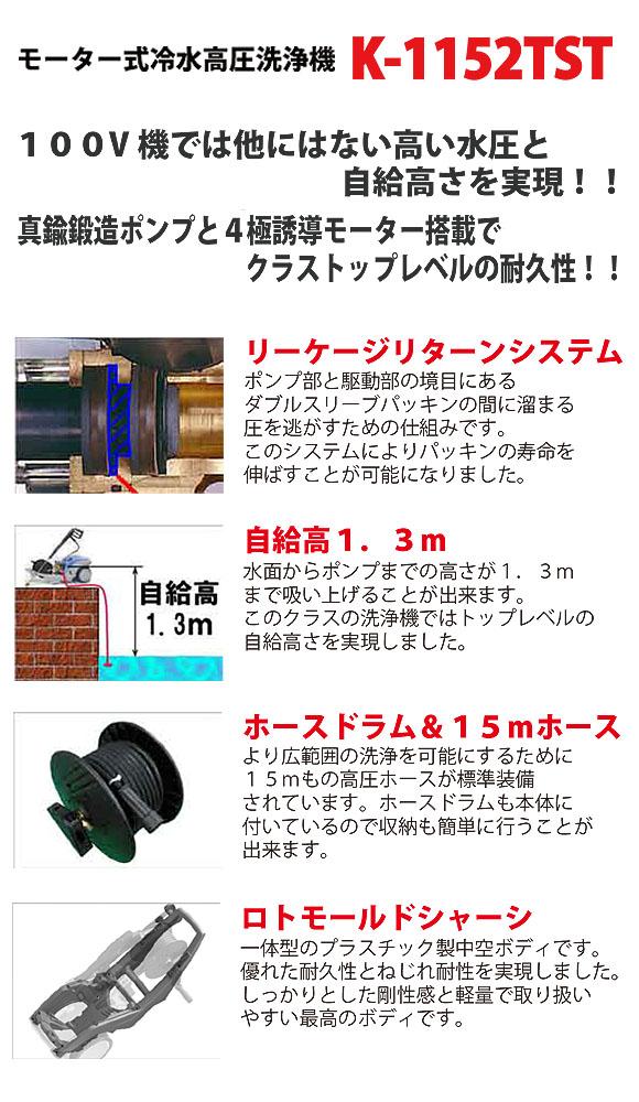 日本クランツレ K-1152TST - 業務用モーター式冷水高圧洗浄機 01