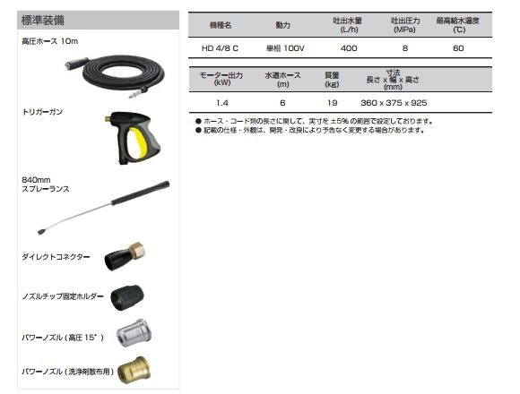 ■年末大掃除キャンペーン特別価格■ケルヒャー HD4/8C - 業務用冷水高圧洗浄機商品詳細05