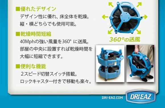 エアーパス - 360度送風で乾燥時間短縮・プロ仕様業務用送風機商品詳細02