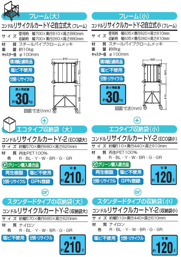 山崎産業 コンドル リサイクルカートY-2(※布袋付き)【代引不可】04