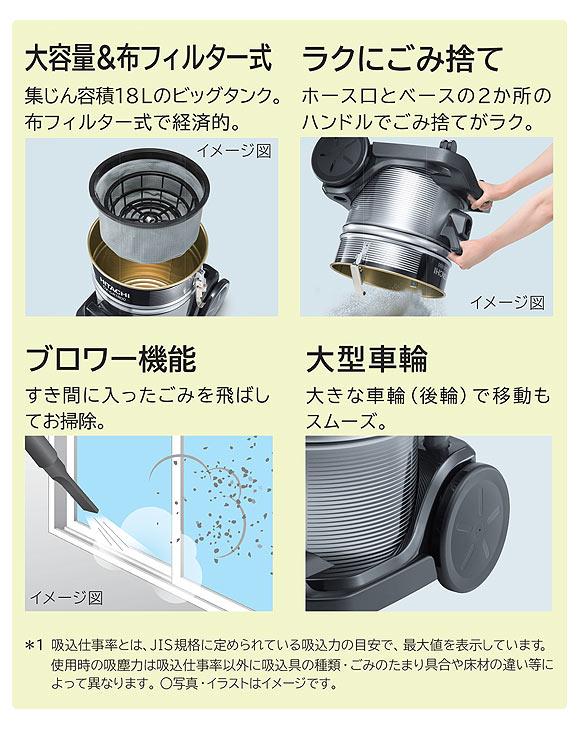 日立 CV-GR1800 - 業務用布フィルター掃除機[ダストカップ]02