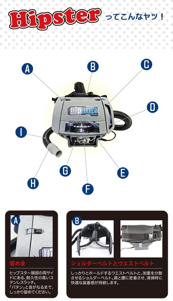 ■大風量・高真空度 強力モーター搭載■ヒップスター - ヘパフィルター標準装備・腰巻式バキュームクリーナー[紙パック] 02