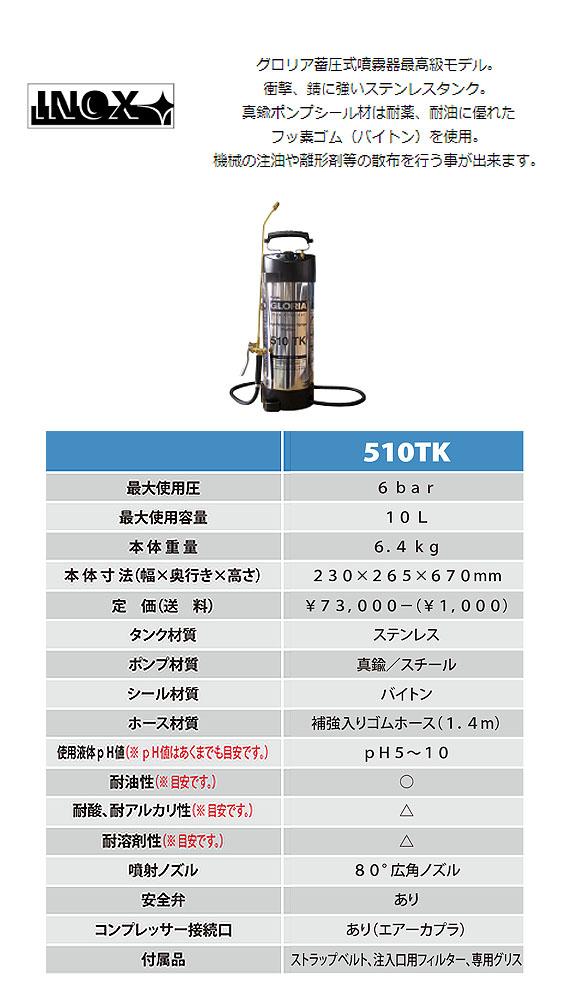 グロリア 蓄圧式噴霧器 510TK - 耐油性仕様 01