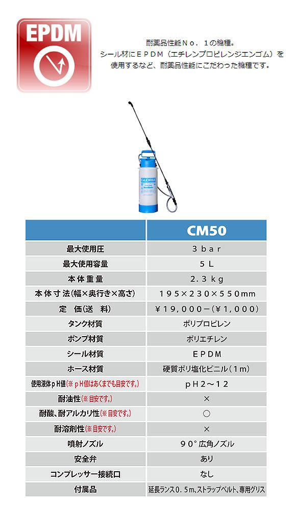 グロリア 蓄圧式噴霧器 CM50 - 耐酸、耐アルカリ性仕様 非中性洗剤対応 01