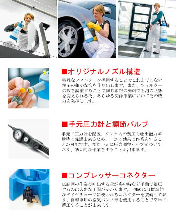 FM50 - 耐酸性・耐アルカリ性・耐油仕様 泡洗浄噴霧器